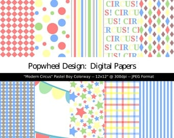 Modern Circus -- Pastel Boy Shades -- Digital Paper Pack 12x12 -- Printable --  Personal and Commercial Use
