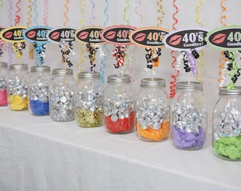 50th Birthday Decoration available in 9 Colors, 50th Candy Buffet, Kiss the 40s Goodbye, 50th Birthday Sign, 50th Centerpiece, Over the Hill