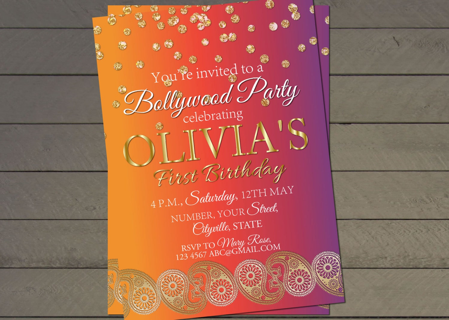 Bollywood birthday party invite- indian wedding invitation- bridal ...