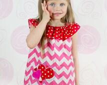 Heart Valentine Dress,Girls Valentine Dress,Pink Chevron Easter Dress,Applique Ruffle Neck Peasant Dress