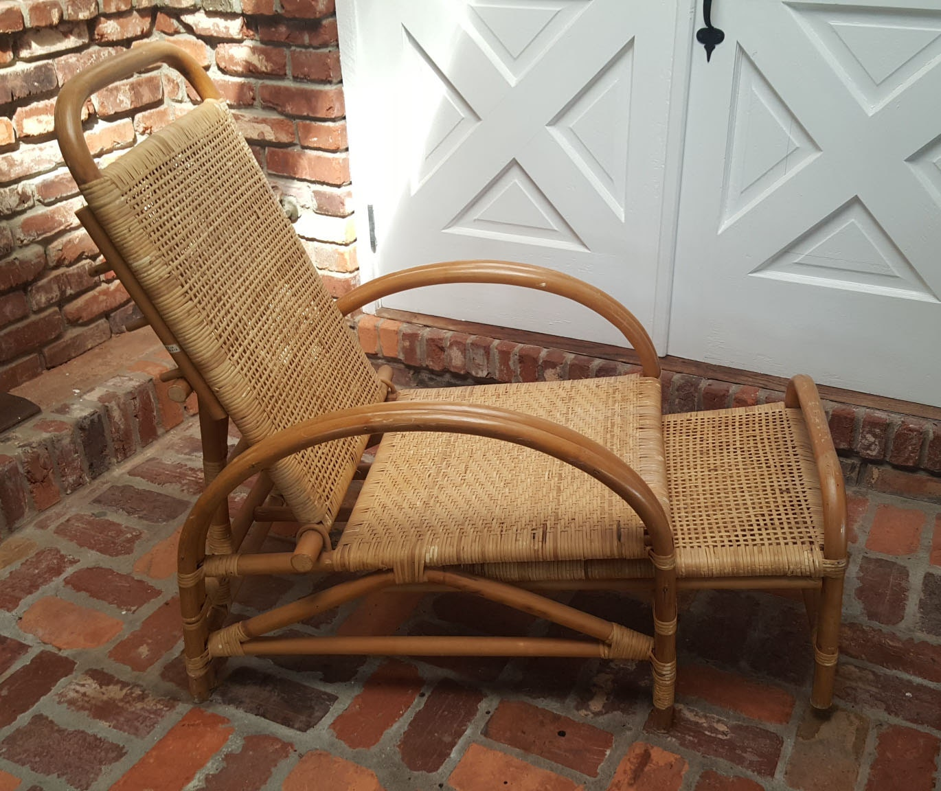 Rattan Amp Cane Lounge Chair With Extendable Foot Rest