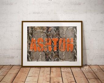 Mossy Oak/Realtree Orange Wall Art -- Custom Wall Art Decor --  Digital File ONLY -- PERSONALIZE