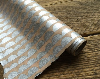 Silver Half Moon Wrapping Paper. Handmade  Lokta Paper. Wedding Gift Wrap. 75 x 50cm.