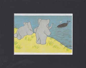 Babar the Elephant. Babar, Celeste and Lady Whale.  Authentic print. Matted and Ready to Frame. Perfect for  Nursery Decor. Jean de Brunhoff