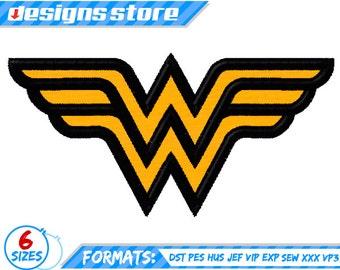 WONDER WOMAN APPLIQUE Embroidery Superhero Design  Machine Logo Justice League Dc SuperFriends