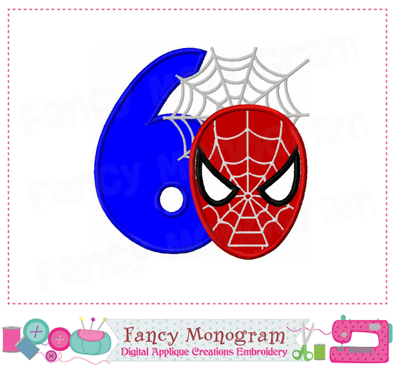 Spiderman Number 6 Appliquebirthday Number 6 Appliquemy 6th