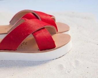 aelia greek sandals/ambrosia collection/red pony skin/platform/leather /criss cross/