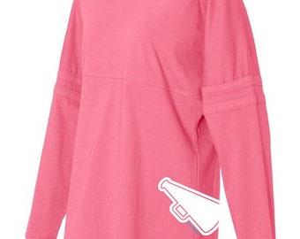 Cheerleading Pom Pom Jersey Top - Hot Pink, Black, and Grey Long-Sleeved Women's Cheerleader T-Shirt