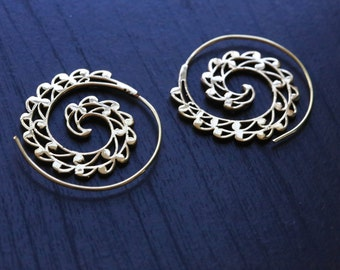 Tribal brass spiral earrings, Brass hoops, Spiral Hoops, Ethnic earrings