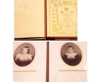 Victorian photo album with gold gilded edges and ornate details- Full of photos- SIGNED by photographer 1890