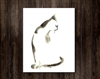 Minimalist Cat Painting Print, Watercolor Painting, Black and White Modern Wall Art, Cat Art