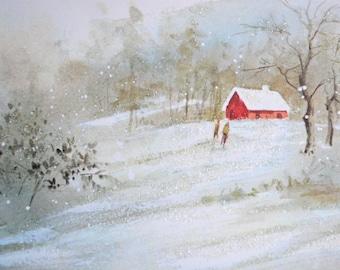 Vintage Christmas Card - Glitter Red Snowy Barn Mid Century - Used