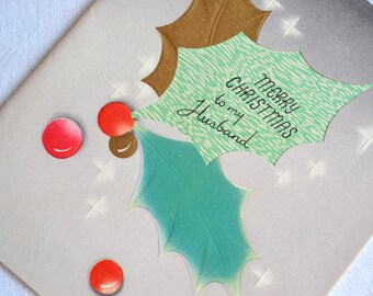 UNUSED Vintage Christmas Card -  Merry Christmas to Husband - Holly Berries