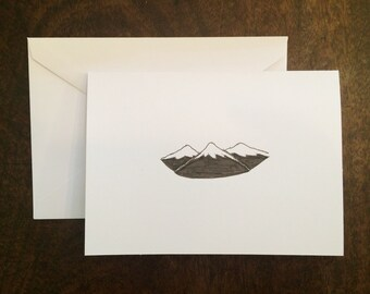 Handmade Personalized Mountain Notecard