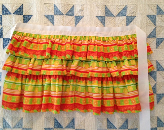 HALF PRICE ** Citrus Triple Ruffled Adult Half Apron. Lemon Tangerine Lime Seersucker Frilly Ruffled Half Apron White Ribbon ties at waist