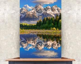 Grand Teton Print, Mountain Peaks, National Park Art, Snake River Photo, Mountain Morning Light Art, Wyoming Rustic Art, Canvas Gallery Art