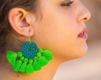 Disc Crochet Tassel Earrings - Turquoise & Green