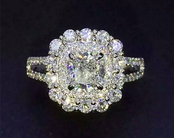1.1ct Cushion Cut Edomera Moissanite Double Halo Cluster 14k White Gold Engagement Wedding Rings (CFESMSR019)