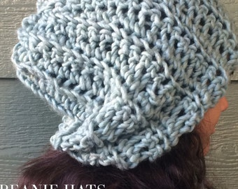Beanie Hat Slouchy beanie hat Ocean Teal Blue Chunky hat Fall Winter women Accessories