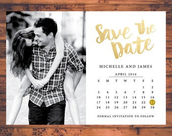Wedding save the dates etsy save the date invitation calendar save the dates faux gold invite post card engagement junglespirit Choice Image