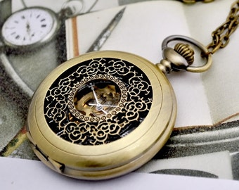 1 Large Mechanical Filigree Flower Pocket Watch Necklace  -C037