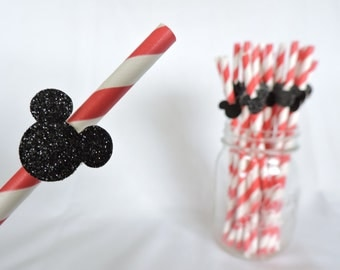 Minnie or Mickey Mouse Straws - Mickey Mouse Straws - Decorated Mickey Straws - Red and Black Disney Straws - Mickey Straw