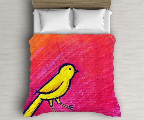 Bird Duvet Cover, Red And Yellow, Animal Illustration, Bird Lover Gift, Bird Decor, Home Decoration, Bedding For Kids