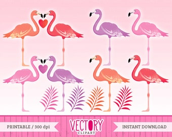 Love Flamingo Clipart, Flamingo Graphics, Pink Love Flamingos, Palm Leaves - Set of 10 by VectoryClipart