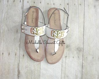 Monogram Sandal, Monogrammed Sandal, Personalized Sandal, White Sandal, Women Sandal, Monogram Sandals, 7, 7 1/2, 7.5, Mother's Day Gift