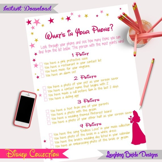 Disney Theme Bridal Shower Game What's In Your Phone Hen