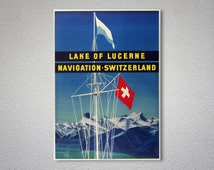 Lake of Lucerne Switzerland Travel Poster - Poster Paper, Sticker or Canvas Print