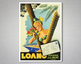 Loano Riviera delle Palme - Vintage Travel Poster - Poster Paper, Sticker or Canvas Print