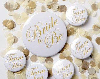 Hen Party Badges Gold - Bride to Be Badges Gold