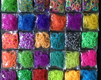 30 Colors 3000 Rubber Bands Refill For Rainbow Loom Kit /Temperature Color Change / Tie Dye Loom / Glitter Loom / Chips r ++ DIY Band Kit