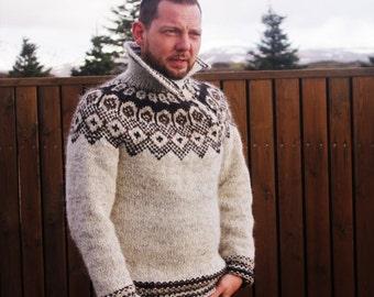 Men Icelandic sweater. Lopapeysa pullover. pull islandais hand knitted from Icelandic wool. Icelandic design. Luxury gift