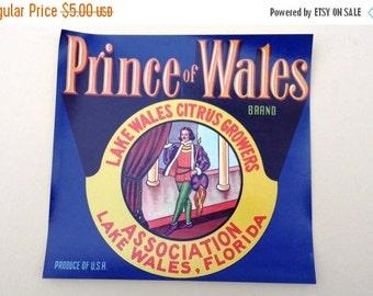 25% OFF Original Vintage Crate Label/ Orange Crate Label/ Prince of Wales Orange Citrus Fruit Wood 30s Crate Label Lake Wales, Florida