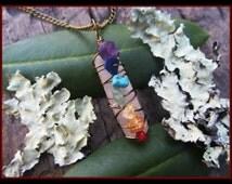 Chakra Necklace, chakra pendant, crystal necklace, rainbow, quartz chakra, Carnelian, Citrine, Amazonite, Turquoise, Amethyst