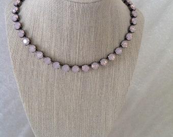 8mm swarocski crystal necklace- swarovski necklace - pink opal- antique set- bracelet and earrings available