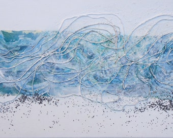 """50% oFF Original textured abstract mixed media painting suitable for a modern interior. Title""""Wave""""-Size 11,16""""x 31,5"""""""