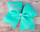 Cheer Bow - Aqua cheer bow - cheerleading bows - dance bow - softball bow - gifts for cheerleaders- gifts under 10 dollars