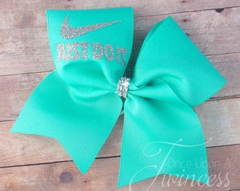 Cheer Bow - Aqua cheer bow - cheerleading bows - dance bow - softball bow - gifts for cheerleaders- gifts under 10 dollars - cheer mom gift