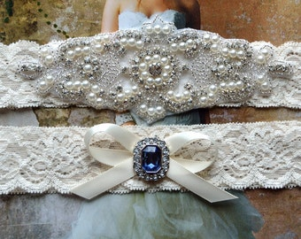 Crystal Wedding Garter, Garter, Wedding Garter Set, Blue Garter, Bridal Garter Set, Lace Garter, Blue Wedding Garter, Sapphire Wedding