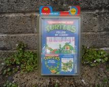Vintage Teenage mutant hero turtles book and tape cassette story - vintage TNMT Ninja turtles hear book vintage kids action figure books