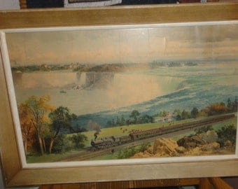"Vintage Signed Gorham Litho/Titled ""Niagara Falls From Michigan Central"" /Train/ Waterfall"