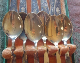 Vintage Oriental Spoons and Forks/ with Box
