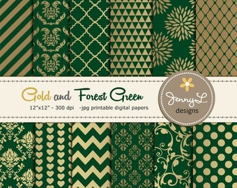 Gold and Forrest Green Digital Papers, Wedding Birthday Digital Scrapbooking papers, Green Damask Digital Paper, Dahlia Digital Paper