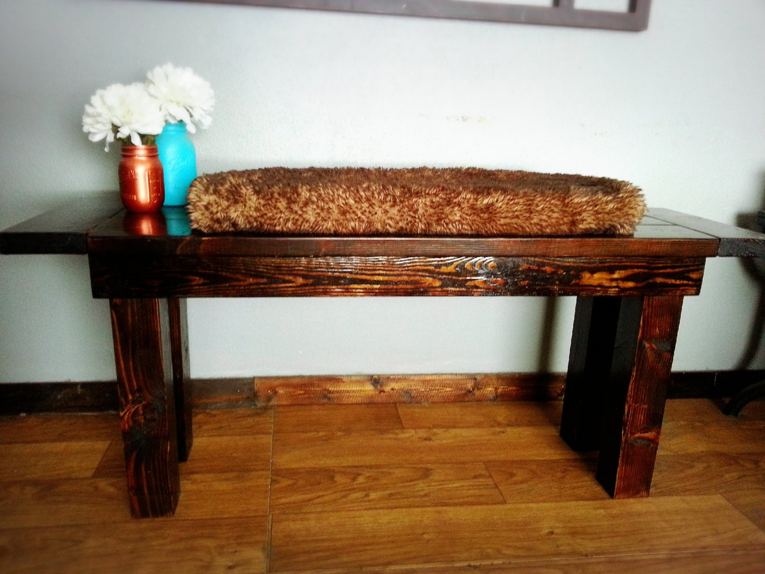 Rustic bench solid wood farmhouse style bench classic for Furniture of america hilande rustic farmhouse dark walnut bed