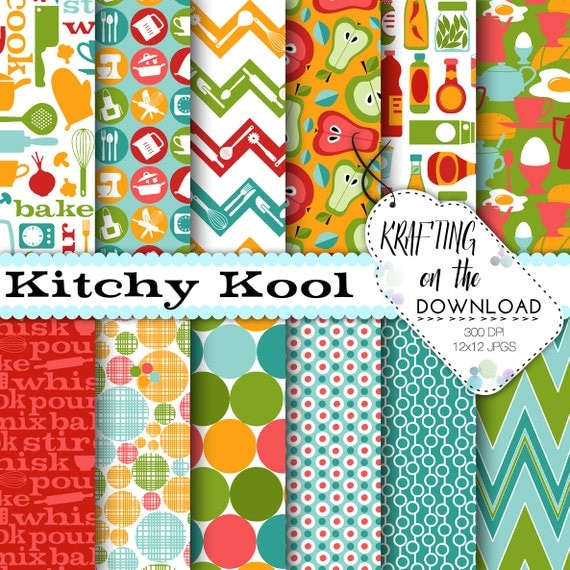 Kitchen Digital Paper Pack coral and mint with teal papers Cooking breakfast scrapbooking pages green turquoise food fruit instant download