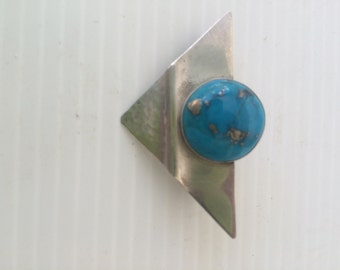 Vintage Sterling and Turquoise Modern Mid Century Pin Brooch