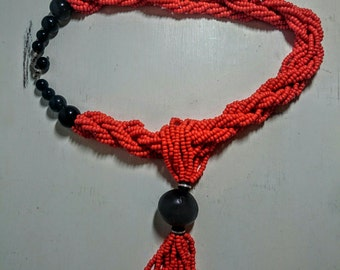 Senegalese Glass Beaded and Wood Necklace Orange